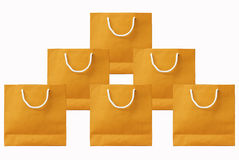 isolated white background.Yellow paper bag set Stock Photos