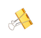 Yellow paper clip isolated on white Stock Image