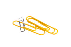 Yellow Paper clips isolated on white background Stock Image