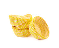 Yellow paper cupcake cup isolated Stock Photo