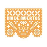 Yellow paper with cut out flowers and geometric shapes. Papel Picado . royalty free illustration