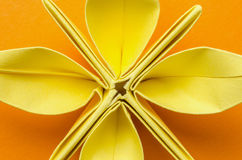 Yellow paper flower with petals Royalty Free Stock Photos