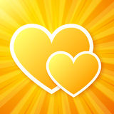 Yellow paper hearts on shining vector background Stock Image