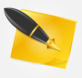 Yellow paper with ink pen icon vector illustration Royalty Free Stock Photography