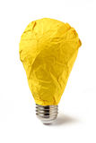 Yellow paper lightbulb isolated Royalty Free Stock Images