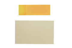 Yellow paper note isolated on white background Stock Image