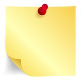 Yellow paper note with red pin Stock Photography