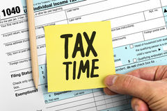 Yellow Paper Note With Words Tax Time Stock Photography