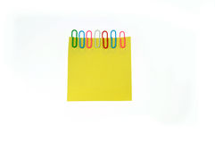 Yellow paper notes are fixed Royalty Free Stock Image