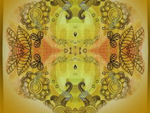 Yellow paper with ornaments Royalty Free Stock Images