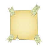 Yellow paper piece taped Royalty Free Stock Photos