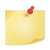 Yellow paper with pin on white background vector Royalty Free Stock Photography