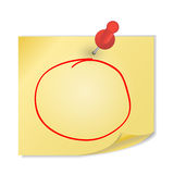 Yellow paper with pin on white background vector Stock Image