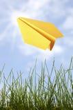 Yellow paper plane royalty free stock photos