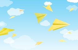 Yellow paper planes Stock Images
