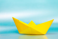 Yellow paper ship Stock Image