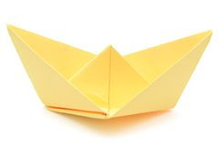 yellow paper ship Royalty Free Stock Image