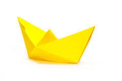 Yellow paper ship Royalty Free Stock Photos