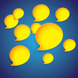Yellow paper speech bubbles on blue gradient background-graphic Stock Image