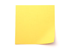 Yellow paper stick note on white background Stock Image