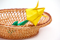 Paper tulips in a basket Stock Photos