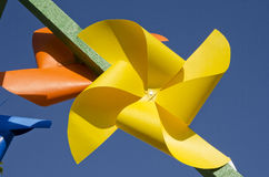 Yellow paper windmill toy Stock Photography