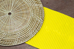 Yellow paper on wood table background. Yellow paper on  brown wood table background Royalty Free Stock Image