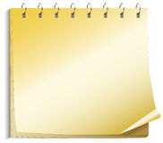Yellow papers of the notebook. Holding with springs Royalty Free Stock Photo