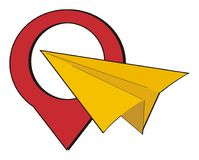 Sign with paper plane Royalty Free Stock Photography