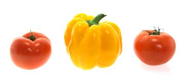 yellow paprika and tomatoes Royalty Free Stock Photography