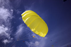 Yellow Parachute Sky Blue royalty free stock image