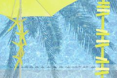 Yellow parasol arrows yellow starfish mood. Ad space summer resort theme background royalty free stock images