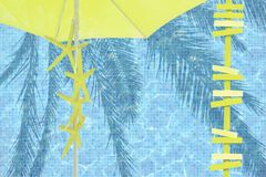 Yellow parasol arrows yellow starfish mood. Ad space summer resort theme background royalty free stock photography
