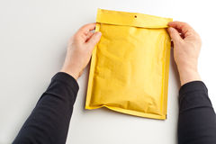 Yellow parcel Royalty Free Stock Image