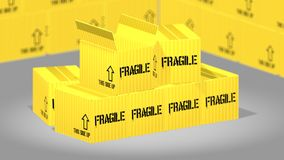 Yellow parcel boxes Royalty Free Stock Images
