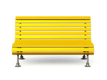 Yellow park bench. Yellow wooden park bench with metal legs, isolated on a white background royalty free illustration