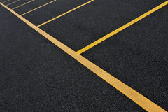 Yellow parking lot lines Royalty Free Stock Photo