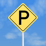 Yellow parking sign Royalty Free Stock Images