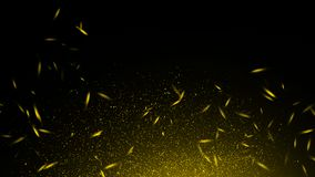 Yellow particles effect dust debris isolated on black background, motion powder spray burst in texture. Design element. Yellow particles effect dust debris stock illustration