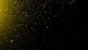 Yellow particles effect dust debris isolated on black background, motion powder spray burst in texture. Design element. Yellow particles effect dust debris royalty free illustration