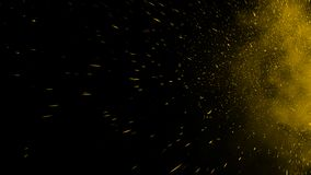 Yellow particles effect dust debris isolated onbackground, motion powder spray burst. Yellow particles effect dust debris isolated on black background, motion stock photos