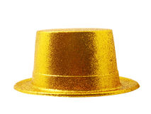 Yellow party hat isolated on white with clipping path. Royalty Free Stock Images