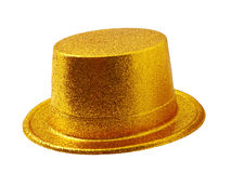 Yellow party hat isolated on white with clipping path. Royalty Free Stock Photos