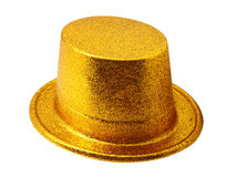 Yellow party hat isolated on white with clipping path. Stock Photos