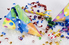Yellow Party Hats with White Snow Royalty Free Stock Photos