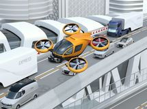Yellow passenger drone flying over cars in heavy traffic jam. Concept for drone taxi. 3D rendering image stock illustration
