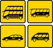 Yellow passenger transport icon Stock Photography