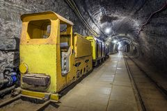 Yellow passenger underground train in a mine Royalty Free Stock Photos