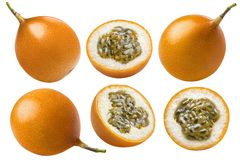 Yellow passion fruit or granadilla collection isolated. On white background as package design element Stock Image