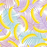 Yellow pastel banana on purple pink and blue palm leaves background exotic tropical hawaii pastel seamless pattern vector.  stock illustration